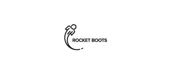 black white logo rocket boots