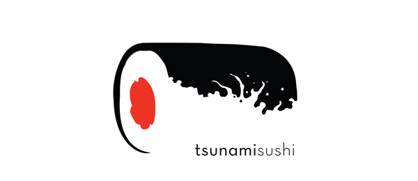 black withe tsunami sushi logo