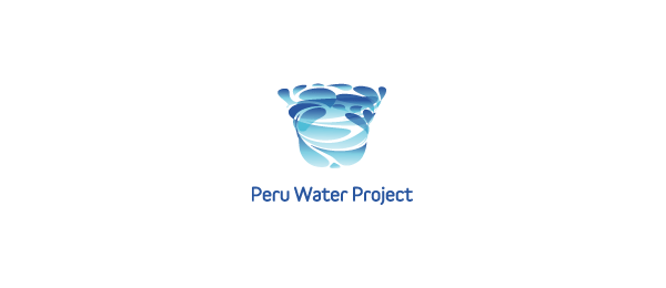blue logo water whirling