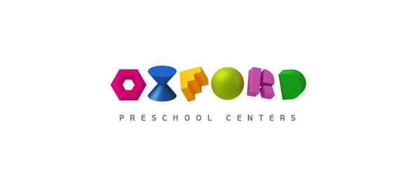 colorful 3d logo for school