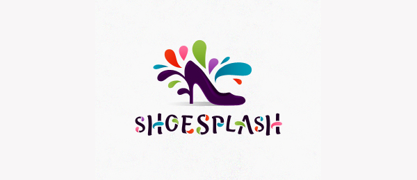purple high heeled shoes logo splash