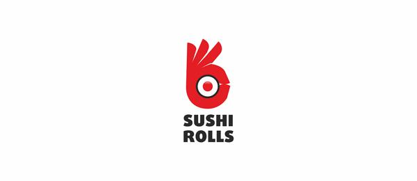 red sushi rolls logo http://hative.com/cool-sushi-logos/