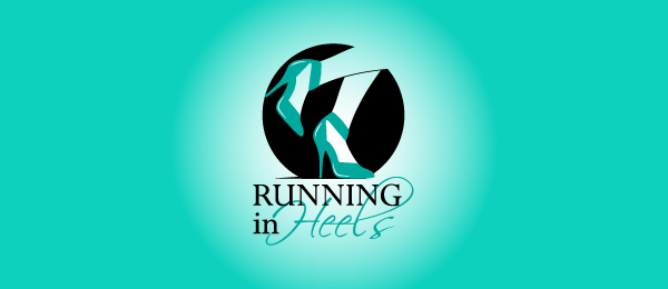 running in heels logo design