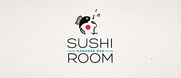 sushi bar logo karaoke http://hative.com/cool-sushi-logos/
