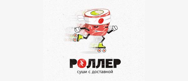 sushi delivery roller logo