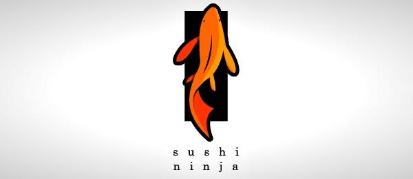 sushi ninja logo design http://hative.com/cool-sushi-logos/
