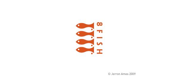 sushi restaurant 8 fish logo