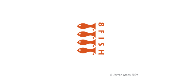 sushi restaurant 8 fish logo http://hative.com/cool-sushi-logos/