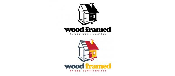 wood framed house construction logo 16