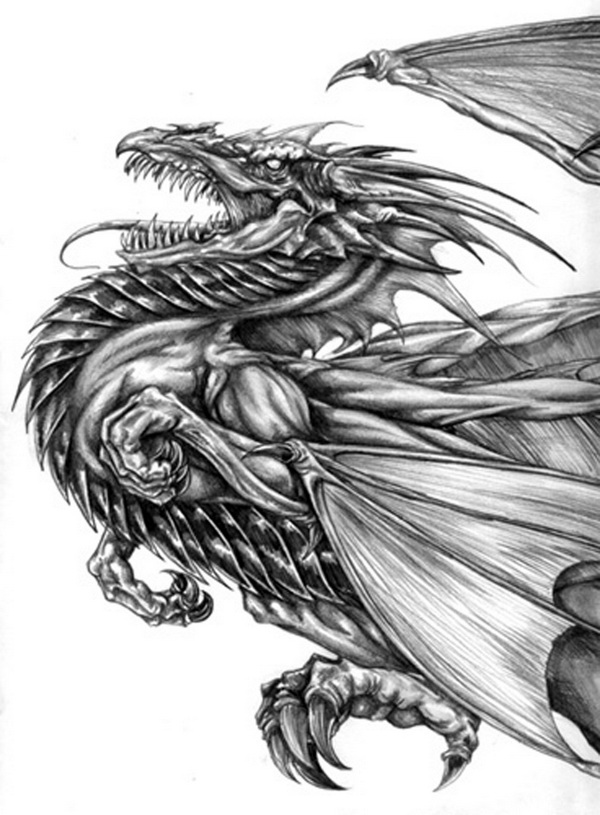 10 cool dragon drawings for inspiration hative for Pictures of awesome drawings