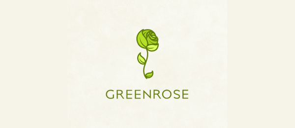flower logo green rose 51