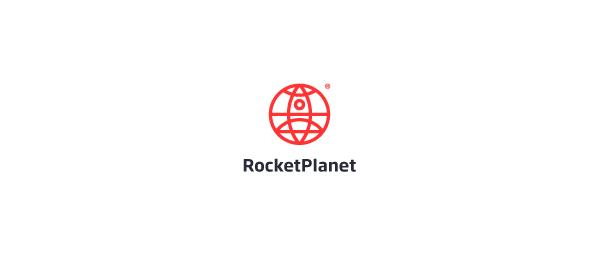 red globe logo rocket planet 12