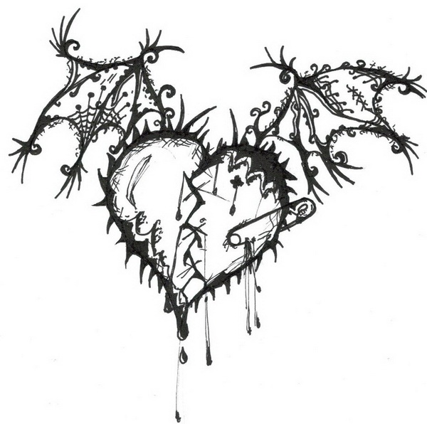 how to draw a broken heart bleeding