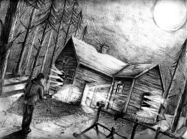 10 beautiful house pencil drawings for inspiration hative Haunted house drawing ideas