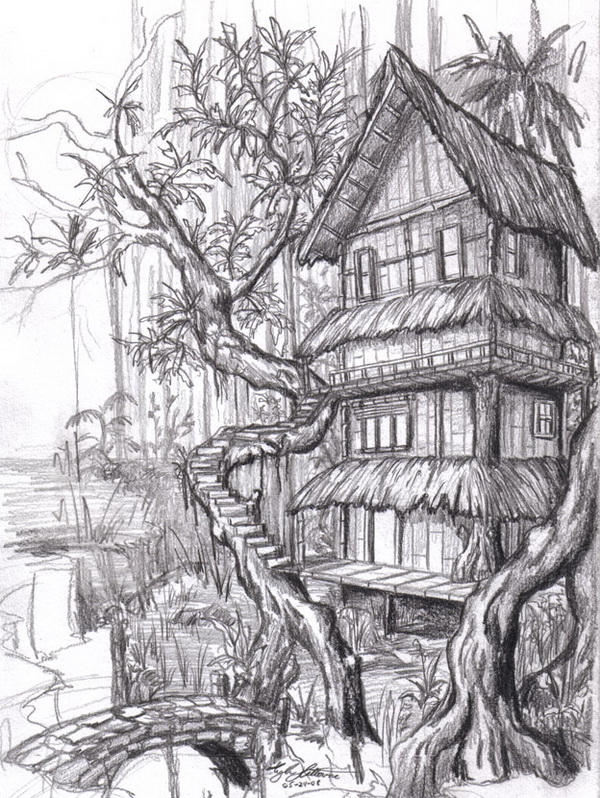 10 beautiful house pencil drawings for inspiration hative for Draw your house