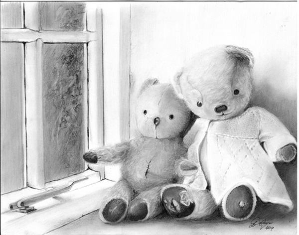 Realistic Pencil Art Teddy Bear Drawing