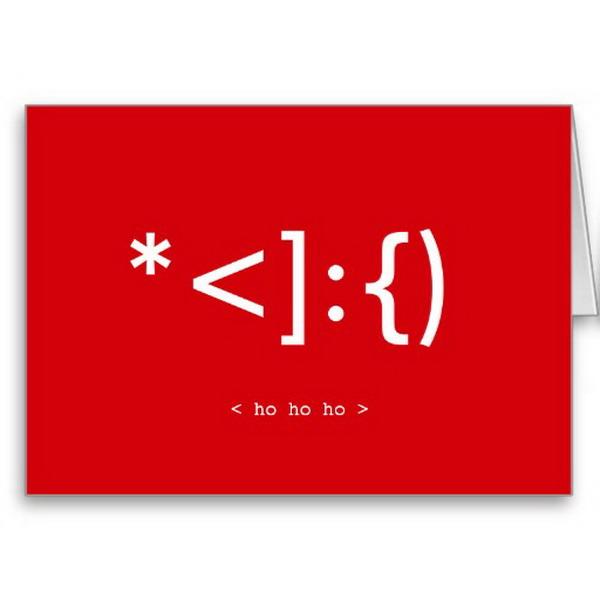 geek santa emoticon xmas card 7