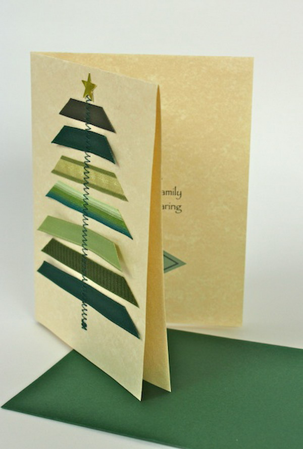 stitched ribbon christmas card 43