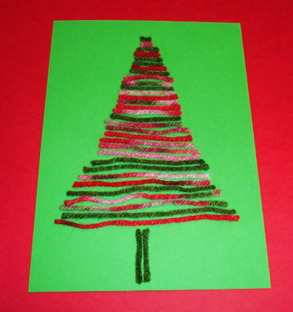 Craft Ideas For Christmas Cards Part - 44: Yarn Tree Craft Xmas Card 45