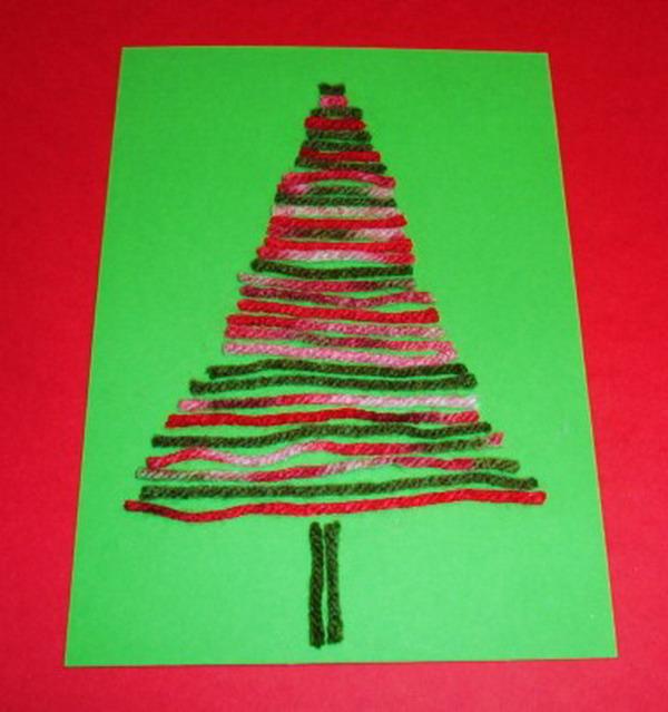 yarn tree craft xmas card 45