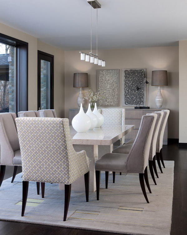 dining room sets with fabric chairs. contemporary dining room 14 40  Beautiful Modern Dining Room Ideas Hative