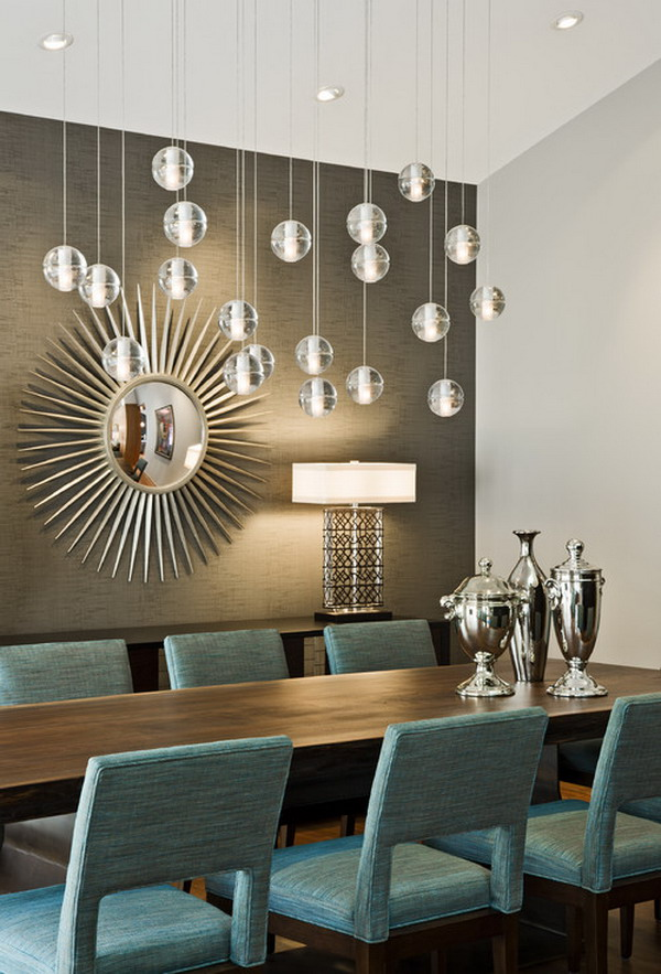 40 beautiful modern dining room ideas hative for Dining room chandeliers modern