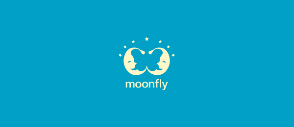negative space logo moon fly 51
