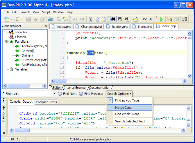 Dev PHP IDE Windows