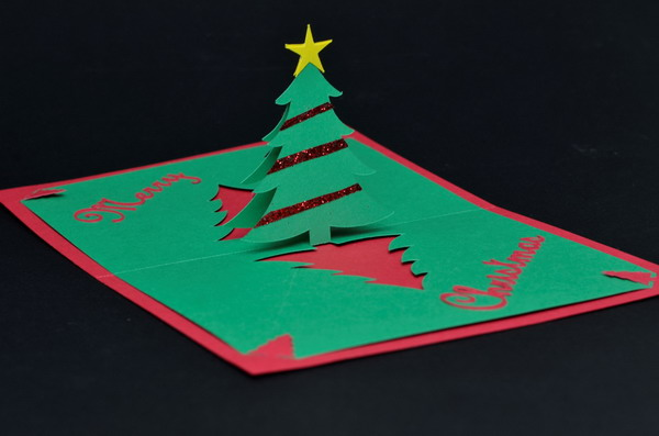 30 pop up christmas cards hative for Christmas tree cards to make