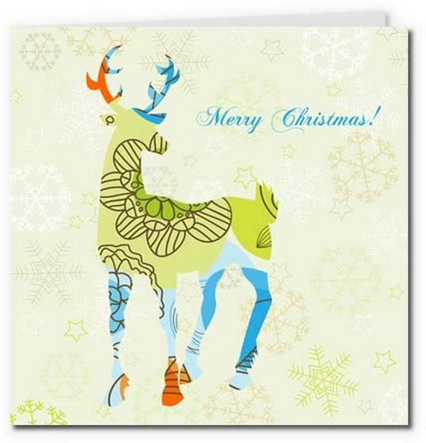 artistic reindeer card 12 - Free Printable Xmas Cards