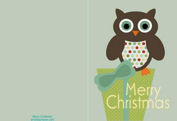 cartões de Natal imprimíveis com coruja 7