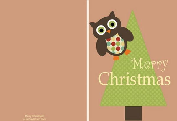 cartões de Natal imprimíveis com coruja 8