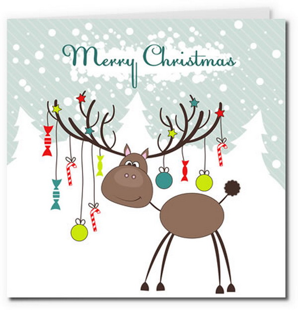 40 free printable christmas cards hative reindeer with christmas baubles 19 m4hsunfo