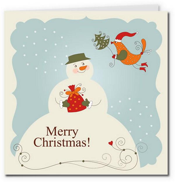 boneco de neve do vintage cartão de Birdy 9