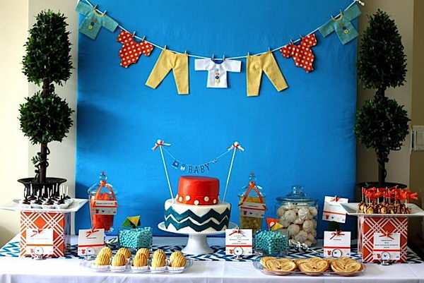 modern chevron baby shower decor 27