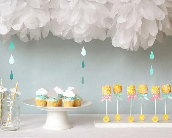 rain themed baby shower for girl 26