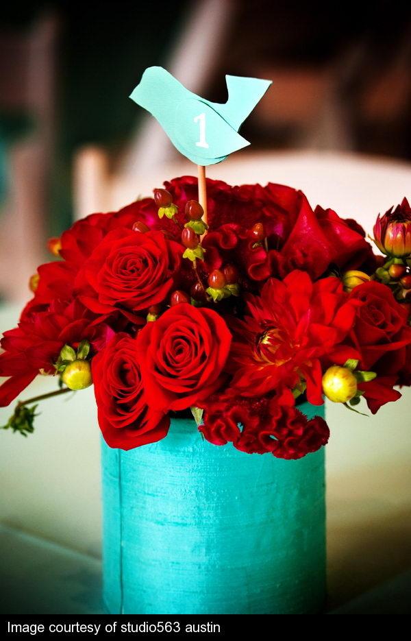 Фото красный цветок на бирюзовом