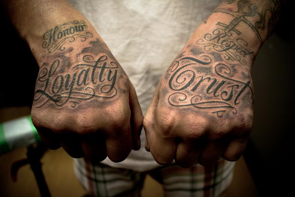 fancy script font hand tattoos