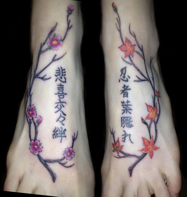 japanese trees and kanji foot tattoo 25