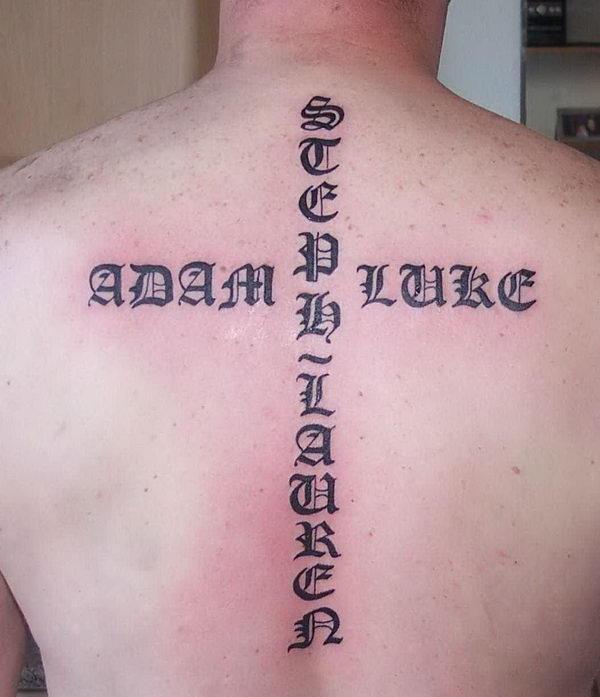 Old English Cross Text Tattoo 3