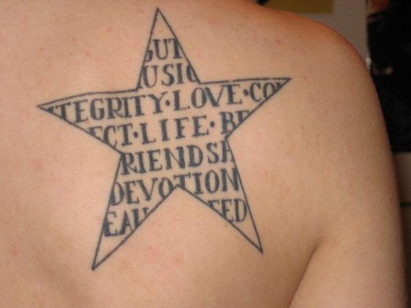 star shape text tattoo design 1