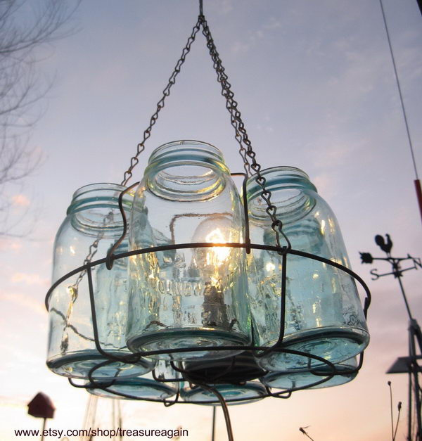 50 cute mason jar craft ideas hative mason jar chandelier aloadofball Gallery