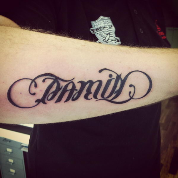 family ambigram on arm 42