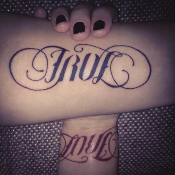 40 cool ambigram tattoo ideas hative for True love tattoos