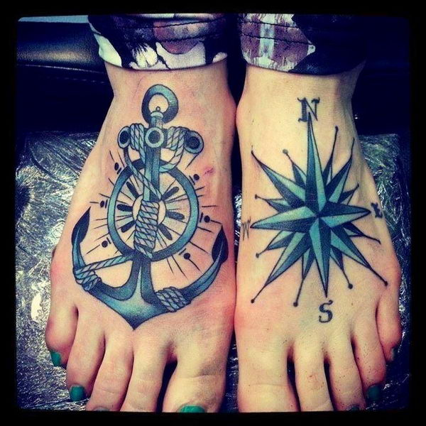 Nautical Compass Anchor Tattoo 50 Cool Designs And