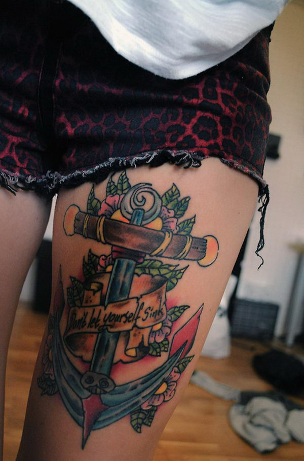50 cool anchor tattoo designs and meanings hative for Colorful thigh tattoos