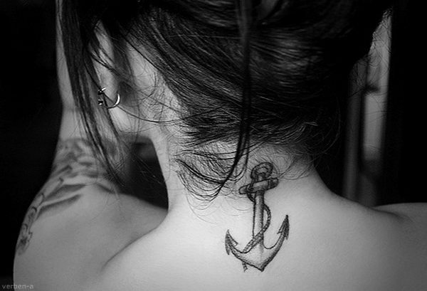38 anchor on neck tattoo