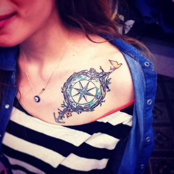 50 cool anchor tattoo designs and meanings hative for Collar bone tattoos girl