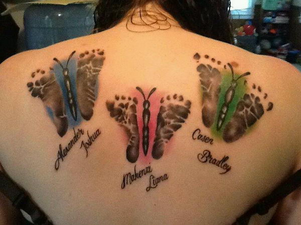 Baby footprint butterfly tattoo designs