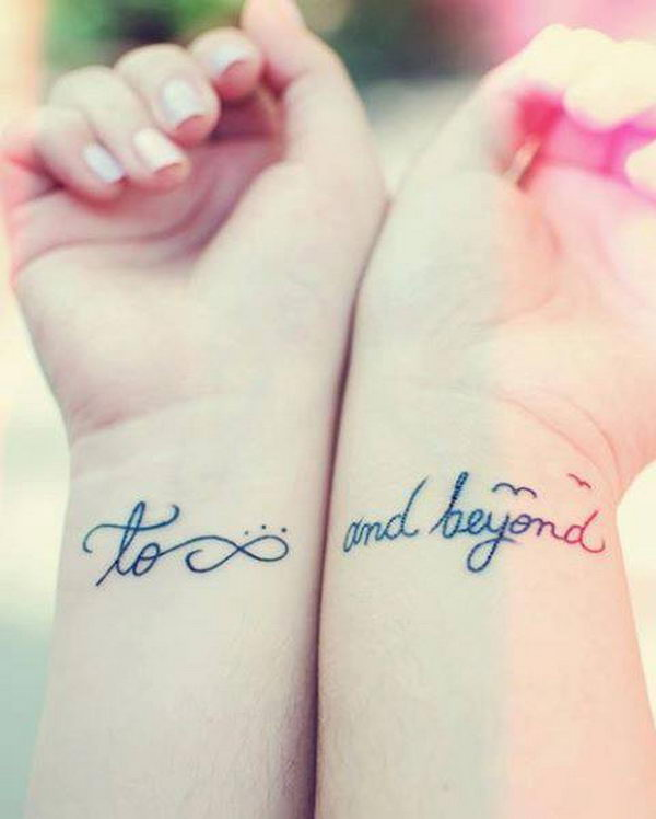 to infinity and beyond tattoo on wristsBest Friend Infinity And Beyond Tattoos